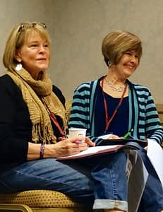Nancy on the left, Joan on the right, enjoying our training session